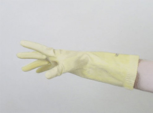 rubber gloves, david pierce. dj mayonaise hands
