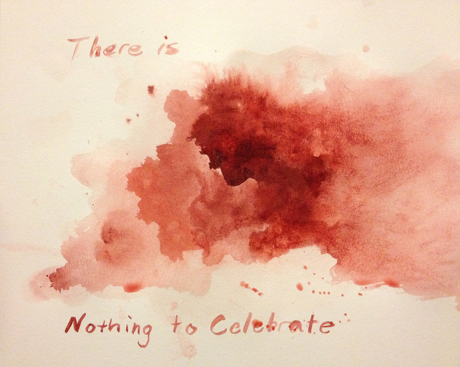watercolor painting, Nothing to Celebrate, looks like blood