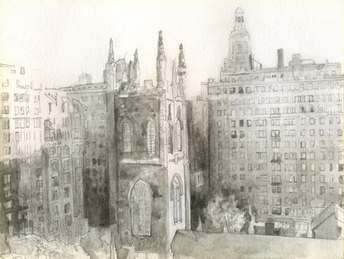 New York City skyline, nyc rooftop, 5th Avenue, Forbes Buidling, church of the ascension nyc