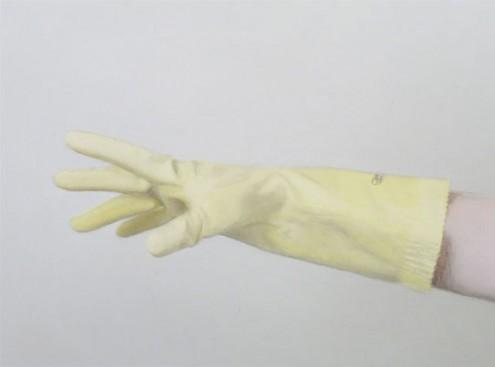 rubber gloves, david pierce. dj mayonaise hands