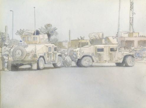 Road block in Iraq