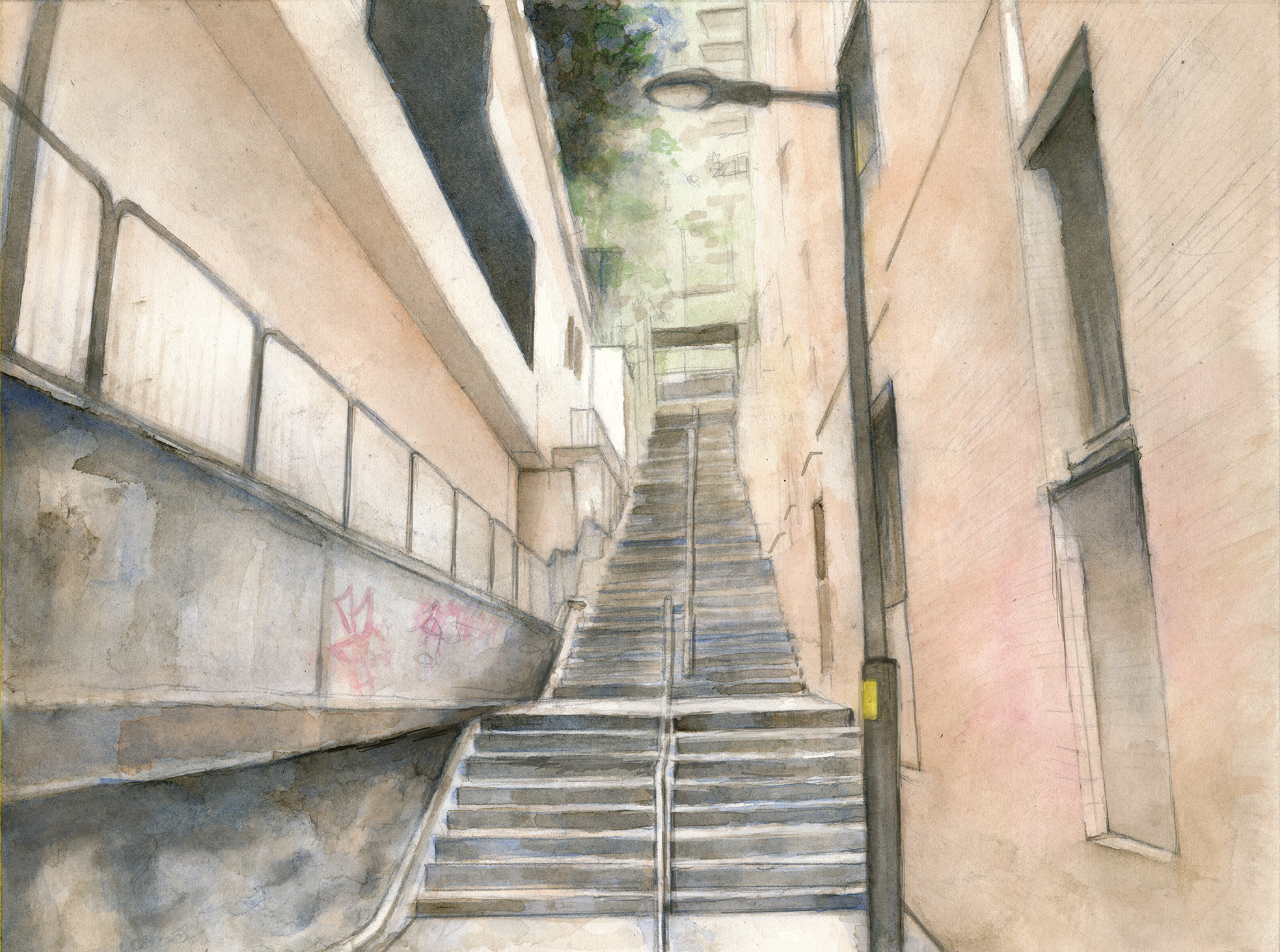 watercolor of stairway in Sai Ying Pun, Hong Kong