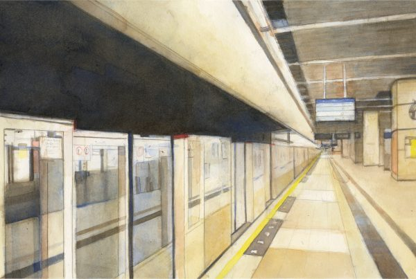 Watercolor of Sha Tin MTR