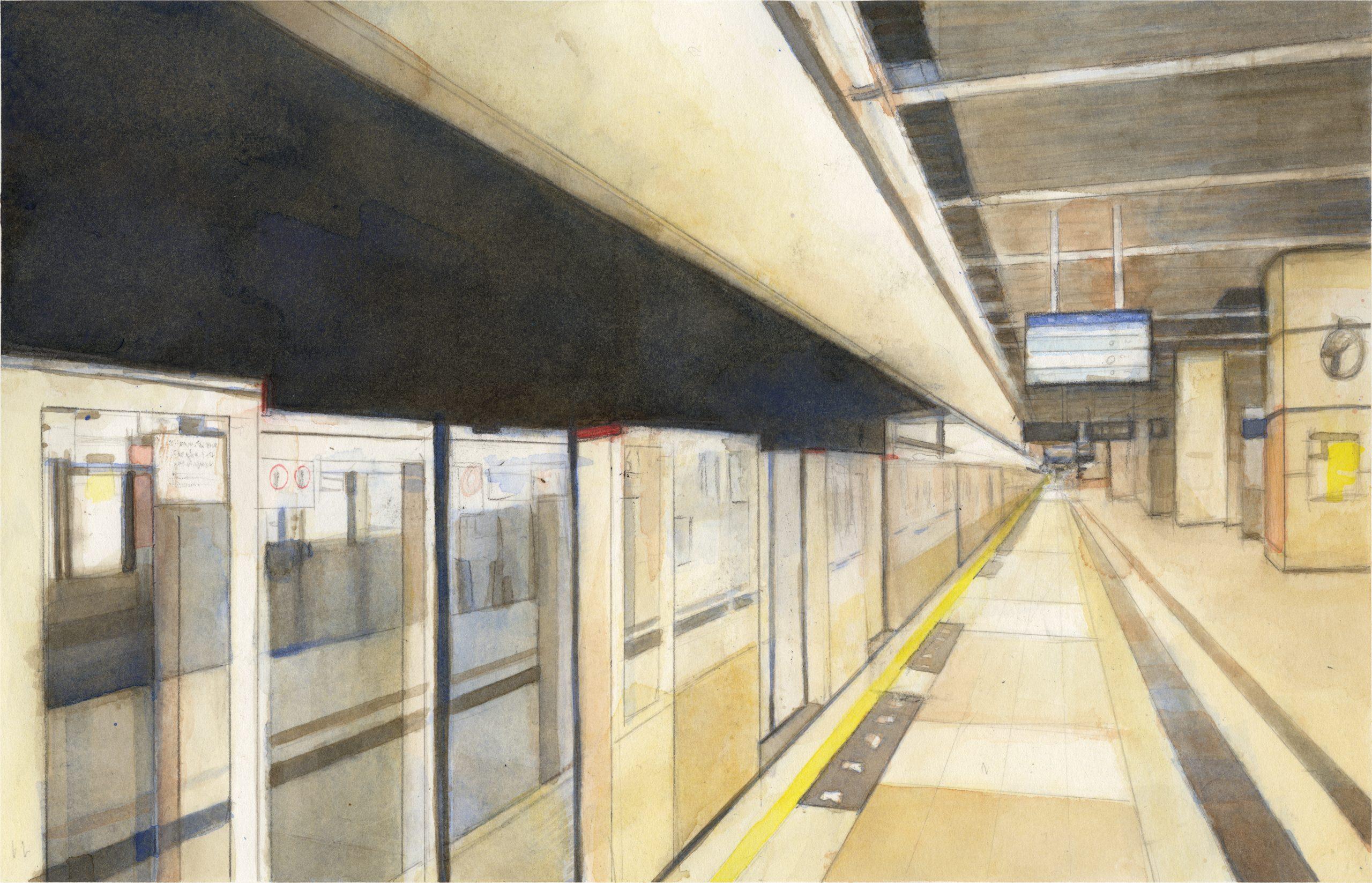 Watercolor of Sha Tin MTR