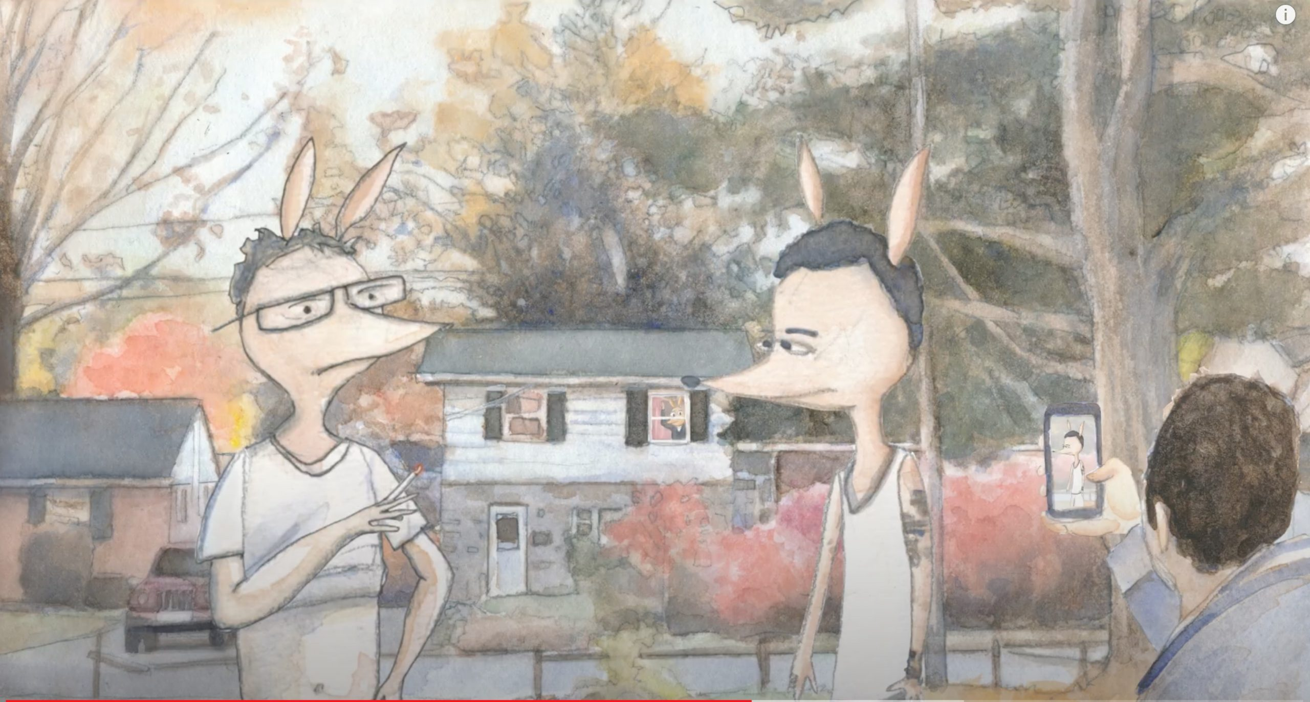 Two Aardvarks having a conversation outsude a house in Pennsuylvania